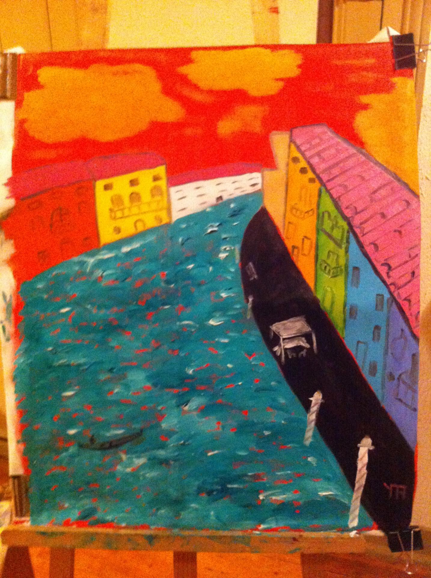 Grand canal a venise huile sur toile 20 f 2015