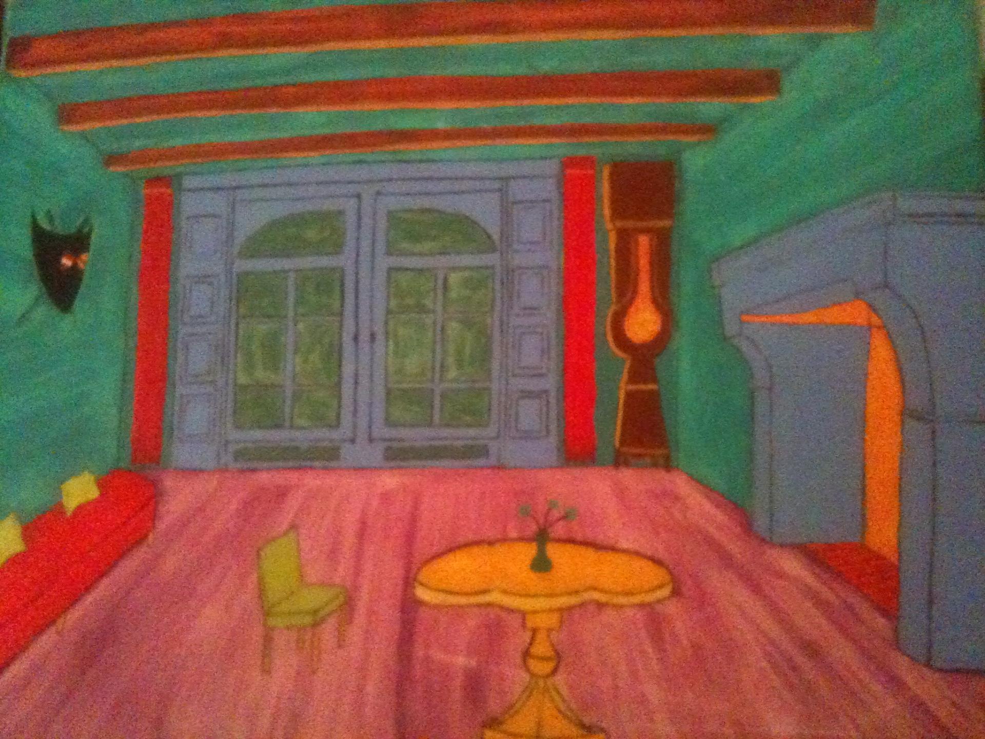 Interieur a rom huile sur toile