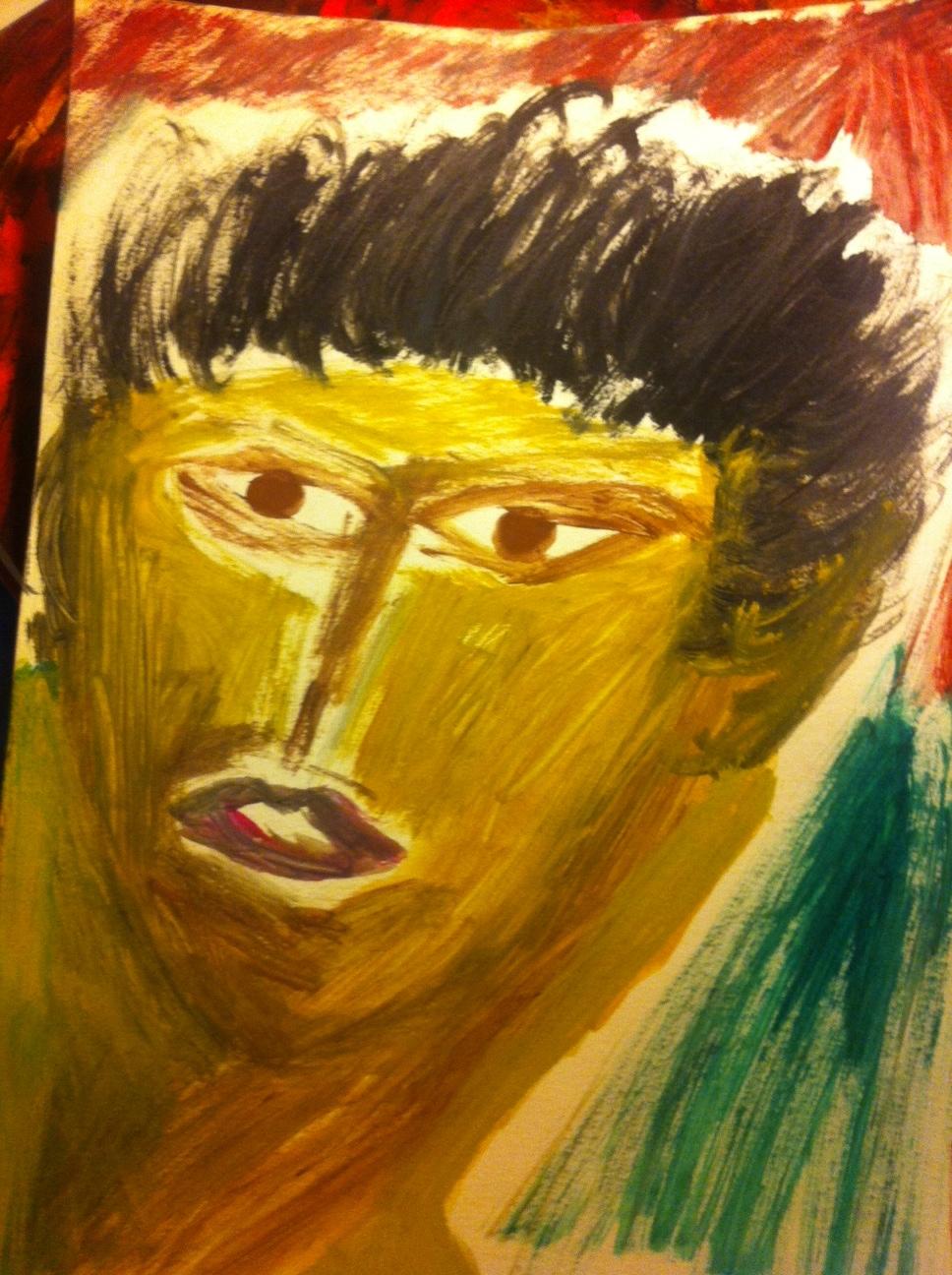 Portrait d homme gouache sur papier 1985